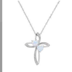 Jewelry - Sterling Silver Opal & DiamondAccent Cross Pendant